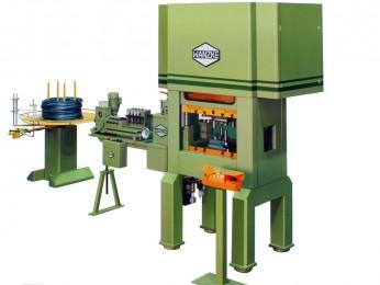 Draht- und Rundprofilstanzautomat kombiniert mit hydraulischer Presse A-SPS 80, horizontaler Abwickelhaspel, Drahtrichtgerät und Rollenvorschubgerät