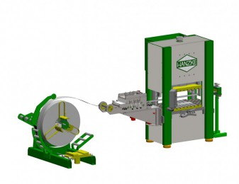Produktionsanlage, bestehend aus Abwickelhaspel, Sphärischer Einfädelvorrichtung, Vorschubrichtmaschine und WANZKE ECO Presse